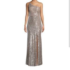 Silver/nude prom dress